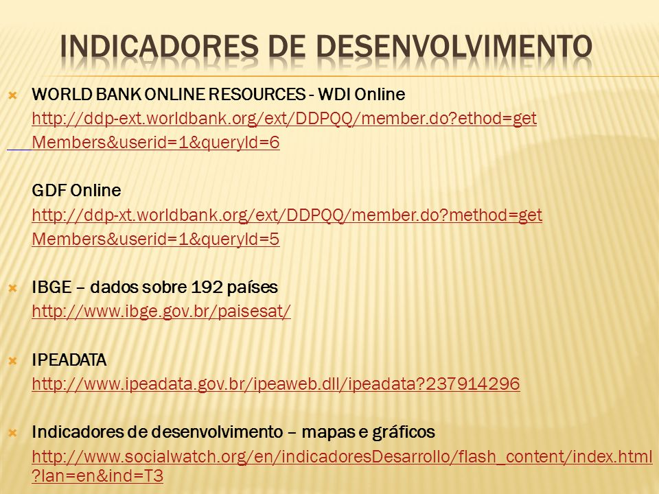 INDICADORES DE DESENVOLVIMENTO