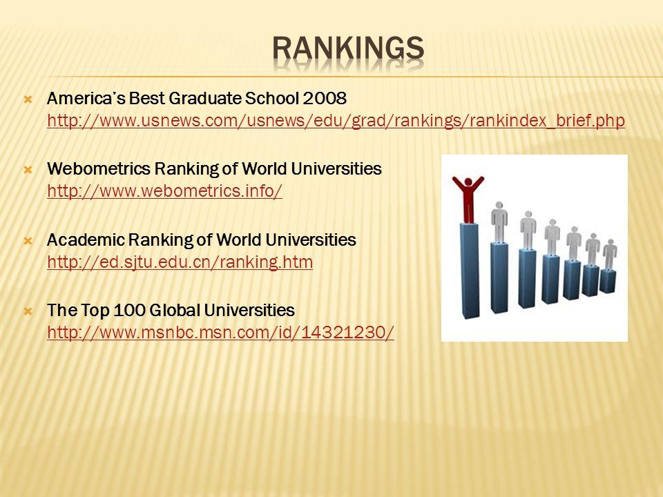 RANKINGSAmerica's Best Graduate School 2008 http://www.usnews.com/usnews/edu/grad/rankings/rankindex_brief.php.