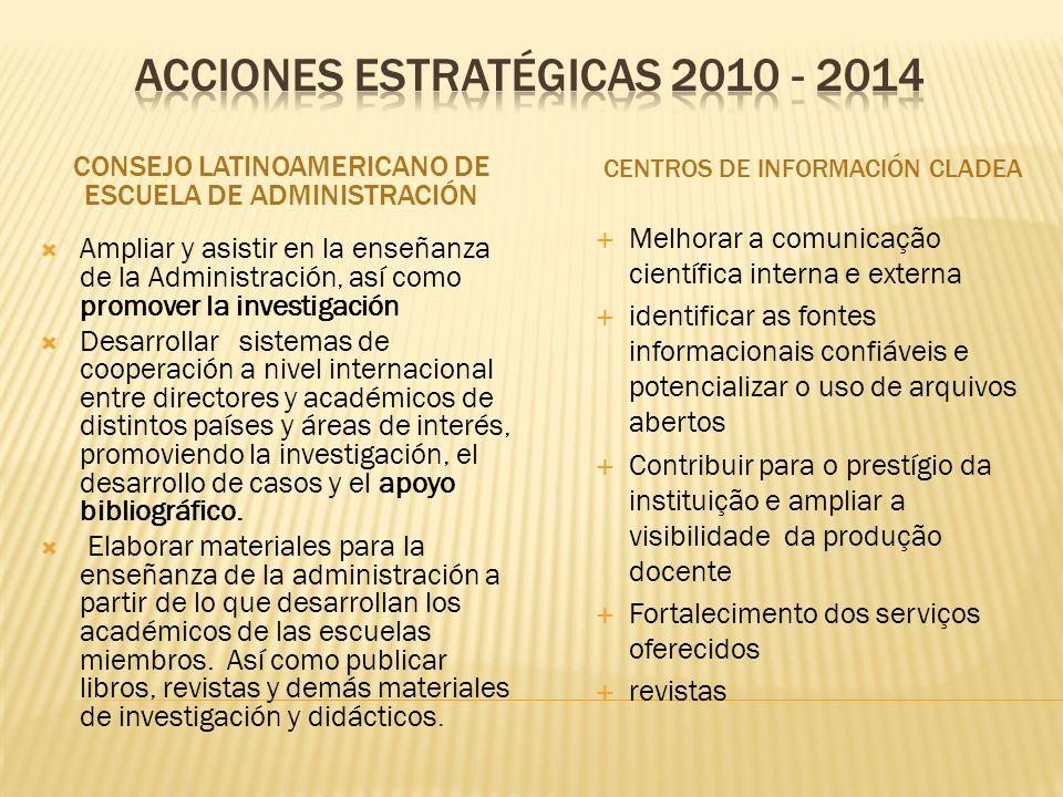 Acciones ESTRATÉGICas 2010 - 2014