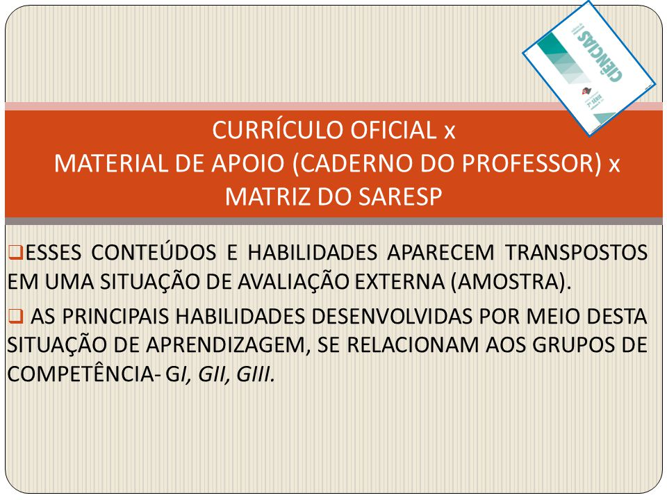 CURRÍCULO OFICIAL x MATERIAL DE APOIO (CADERNO DO PROFESSOR) x MATRIZ DO SARESP