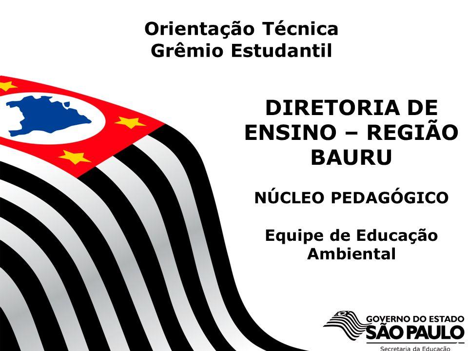 Orientação Técnica Grêmio Estudantil. DIRETORIA DE ENSINO – REGIÃO BAURU NÚCLEO PEDAGÓGICO Equipe de Educação Ambiental.
