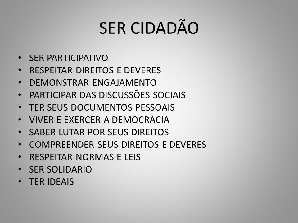 SER CIDADÃO SER PARTICIPATIVO RESPEITAR DIREITOS E DEVERES
