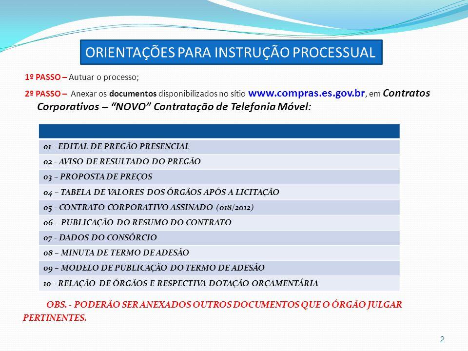 ORIENTAÇÕES PARA INSTRUÇÃO PROCESSUAL