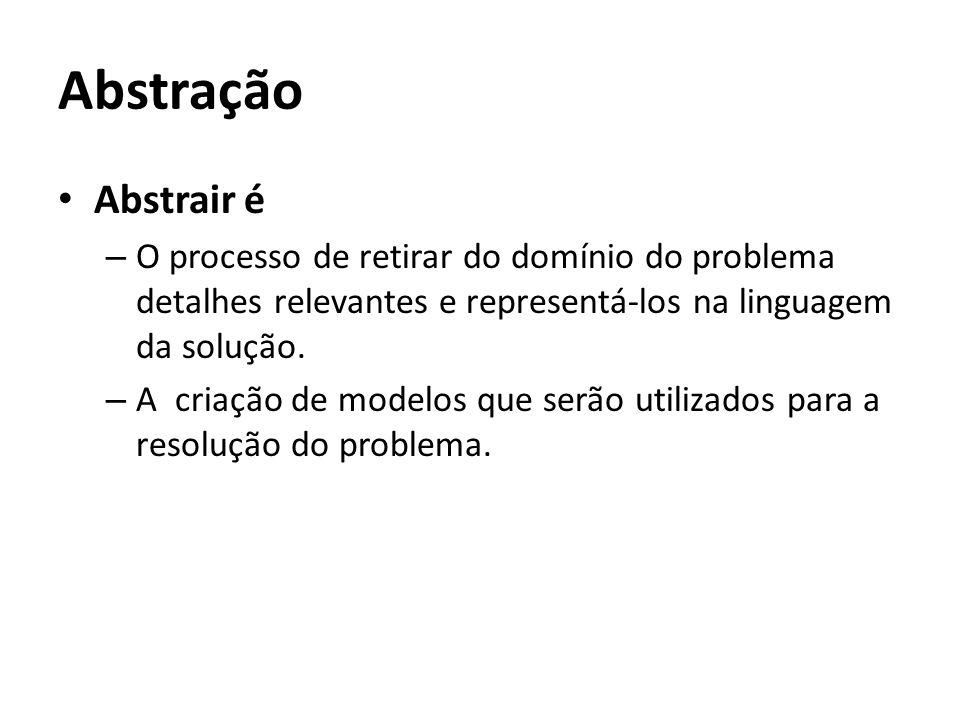Abstração Abstrair é. O processo de retirar do domínio do problema detalhes relevantes e representá-los na linguagem da solução.
