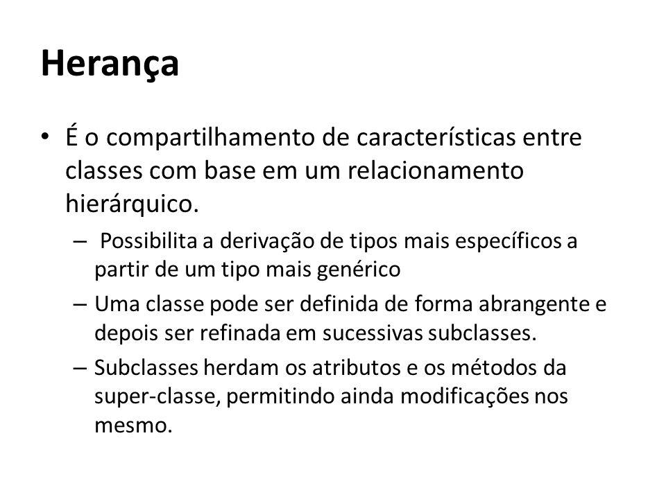 Herança É o compartilhamento de características entre classes com base em um relacionamento hierárquico.