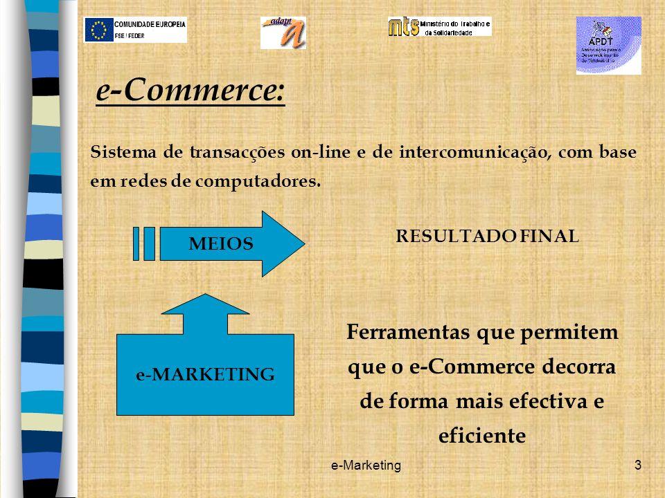 e-Commerce: Sistema de transacções on-line e de intercomunicação, com base em redes de computadores.