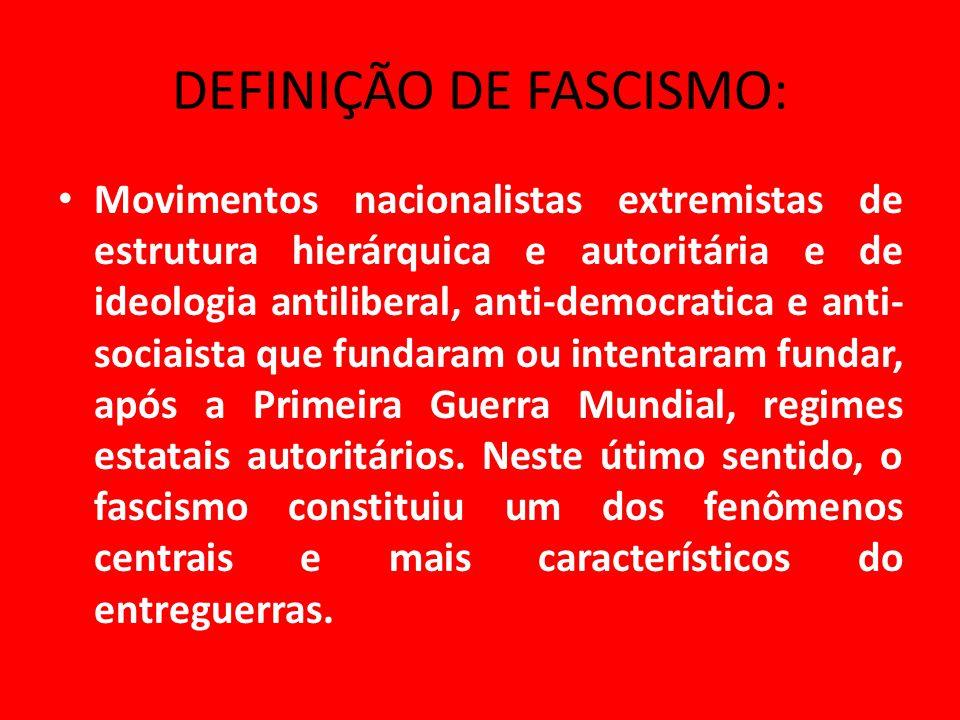 DEFINIÇÃO DE FASCISMO: