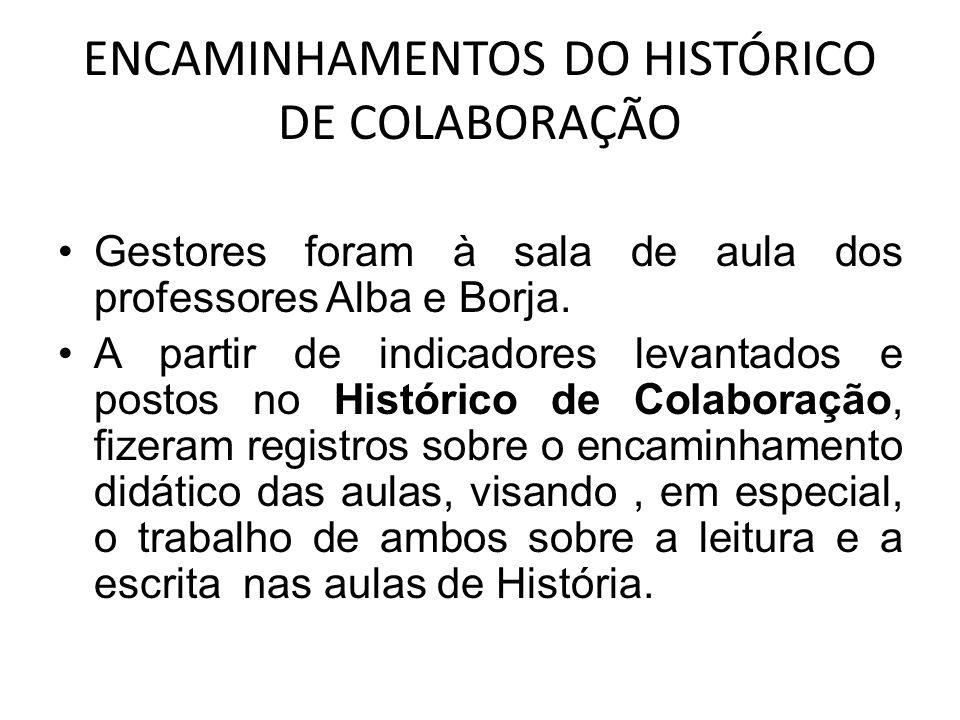 ENCAMINHAMENTOS DO HISTÓRICO DE COLABORAÇÃO