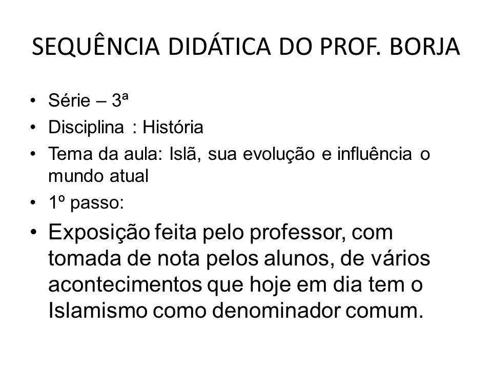 SEQUÊNCIA DIDÁTICA DO PROF. BORJA