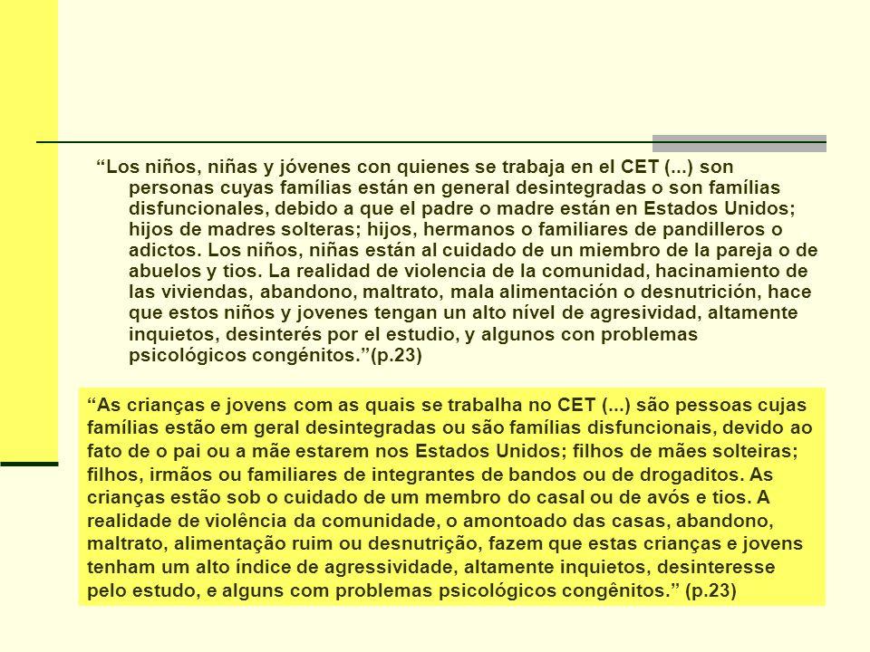 Los niños, niñas y jóvenes con quienes se trabaja en el CET (