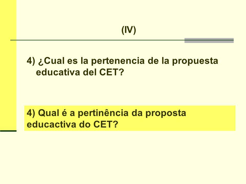 (IV) 4) ¿Cual es la pertenencia de la propuesta educativa del CET.