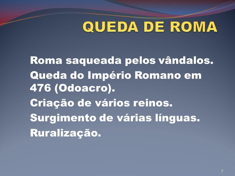 QUEDA DE ROMA Roma saqueada pelos vândalos.