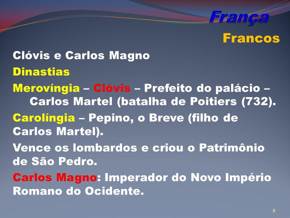 França Francos Clóvis e Carlos Magno Dinastias