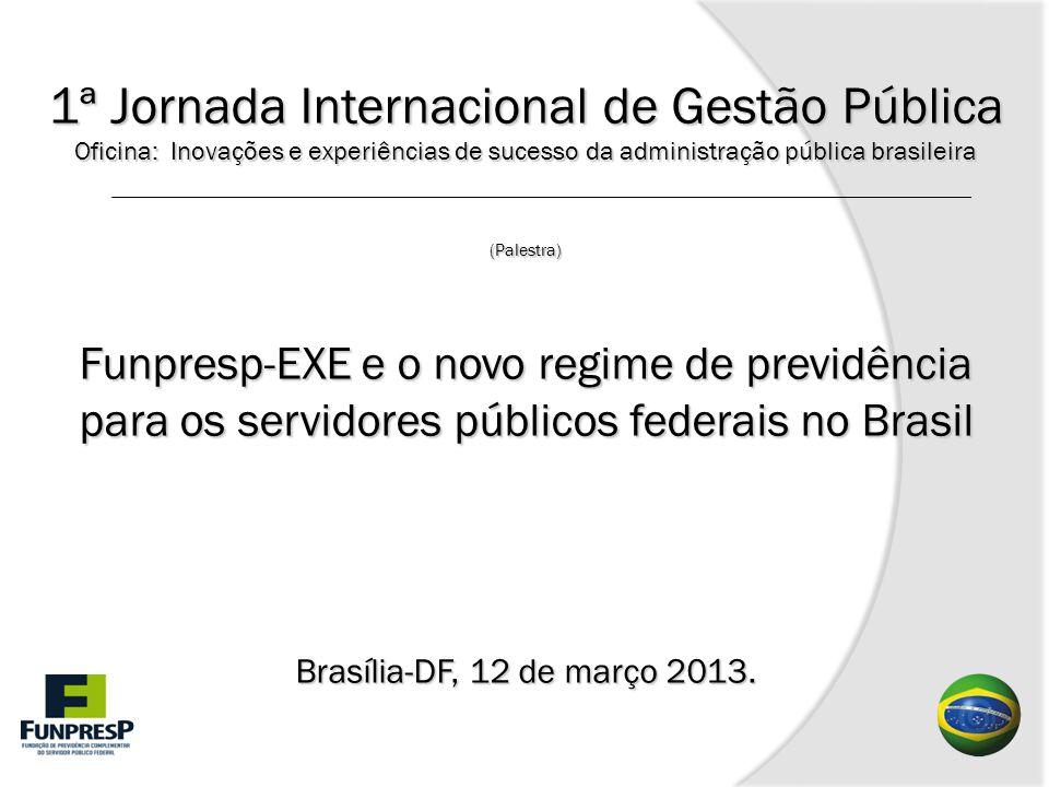 1ª Jornada Internacional de Gestão Pública Oficina: Inovações e experiências de sucesso da administração pública brasileira (Palestra) Funpresp-EXE e o novo regime de previdência para os servidores públicos federais no Brasil Brasília-DF, 12 de março 2013.