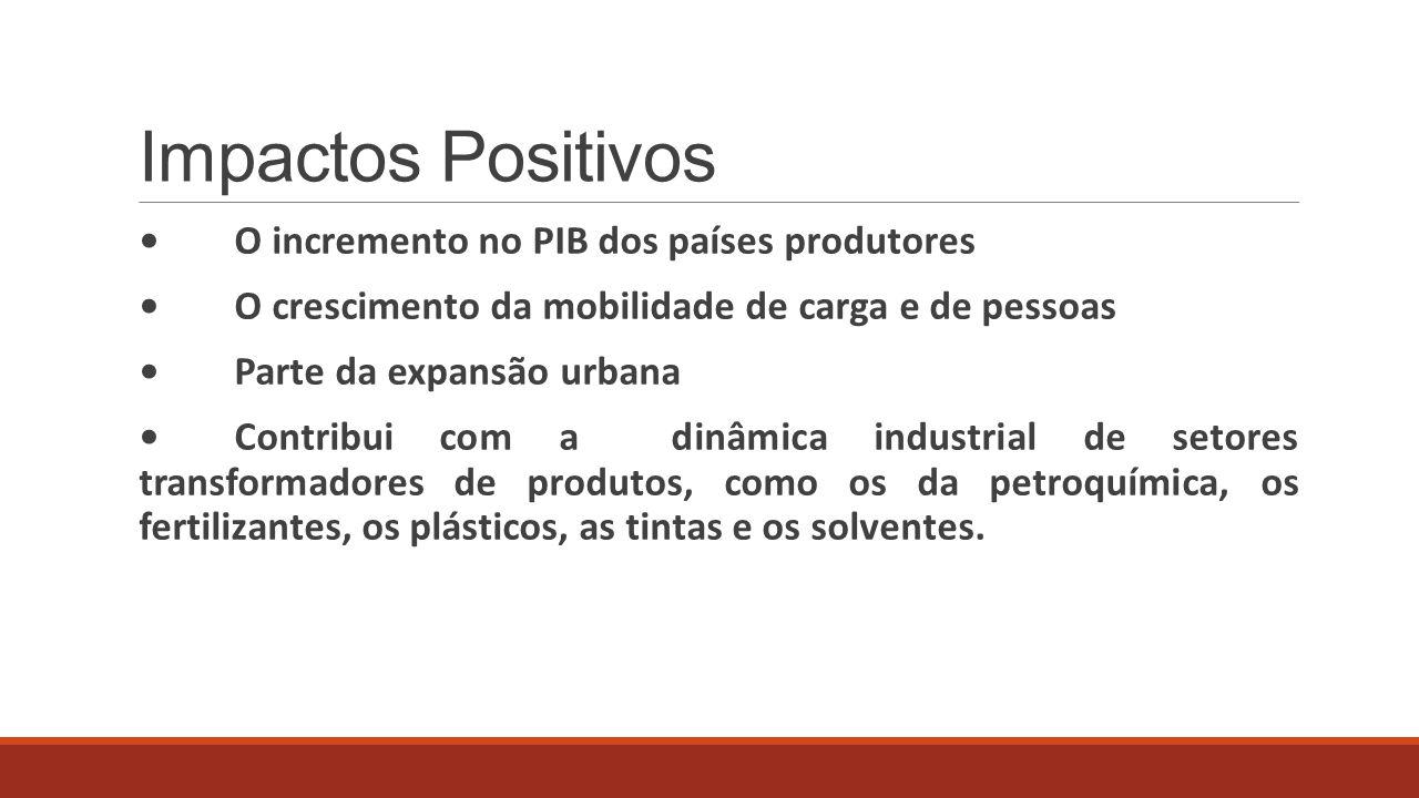 Impactos Positivos • O incremento no PIB dos países produtores