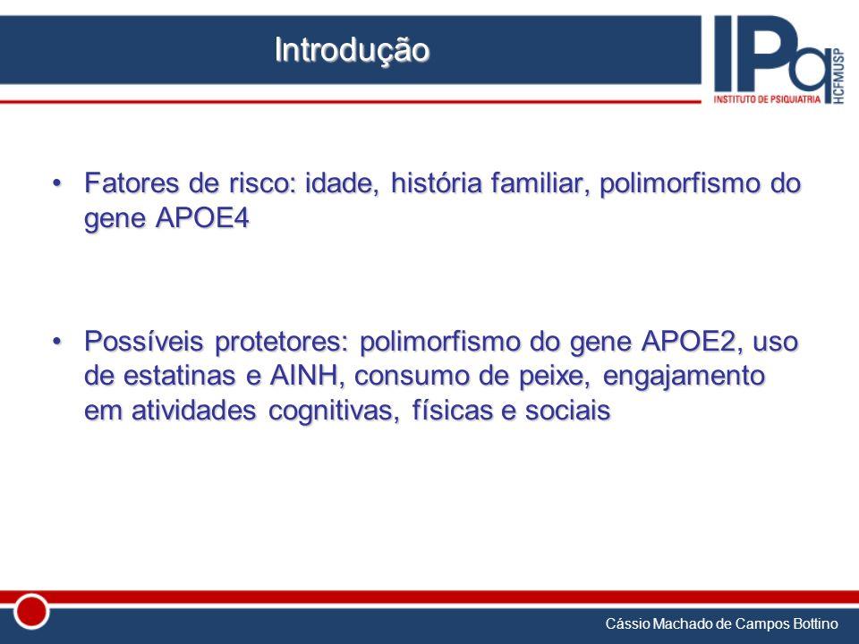 Introdução Fatores de risco: idade, história familiar, polimorfismo do gene APOE4.