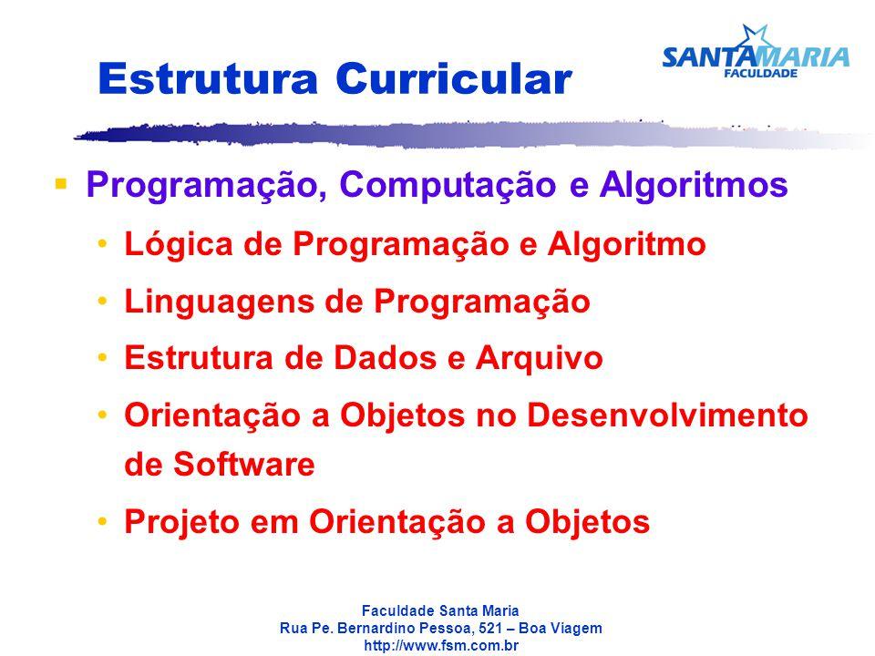 Estrutura Curricular Programação, Computação e Algoritmos