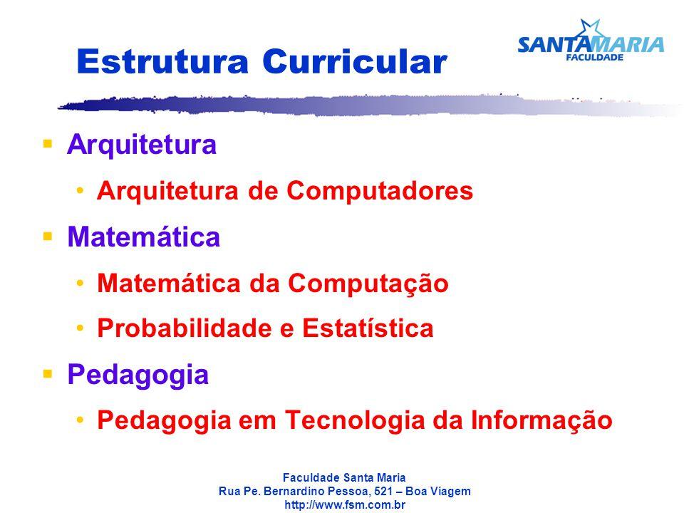 Estrutura Curricular Arquitetura Matemática Pedagogia