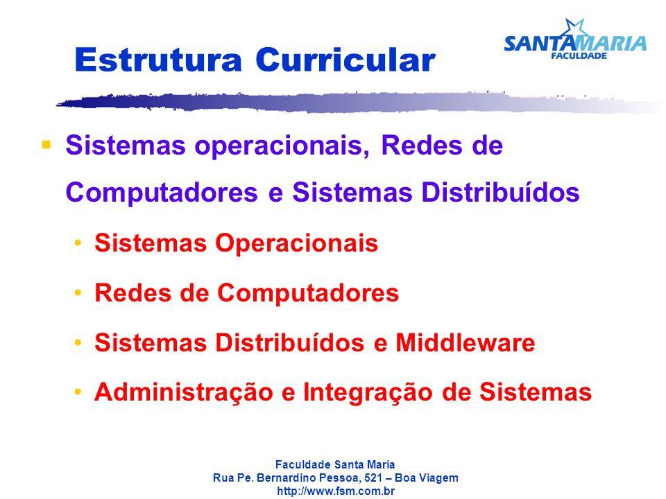 Estrutura Curricular Sistemas operacionais, Redes de Computadores e Sistemas Distribuídos. Sistemas Operacionais.