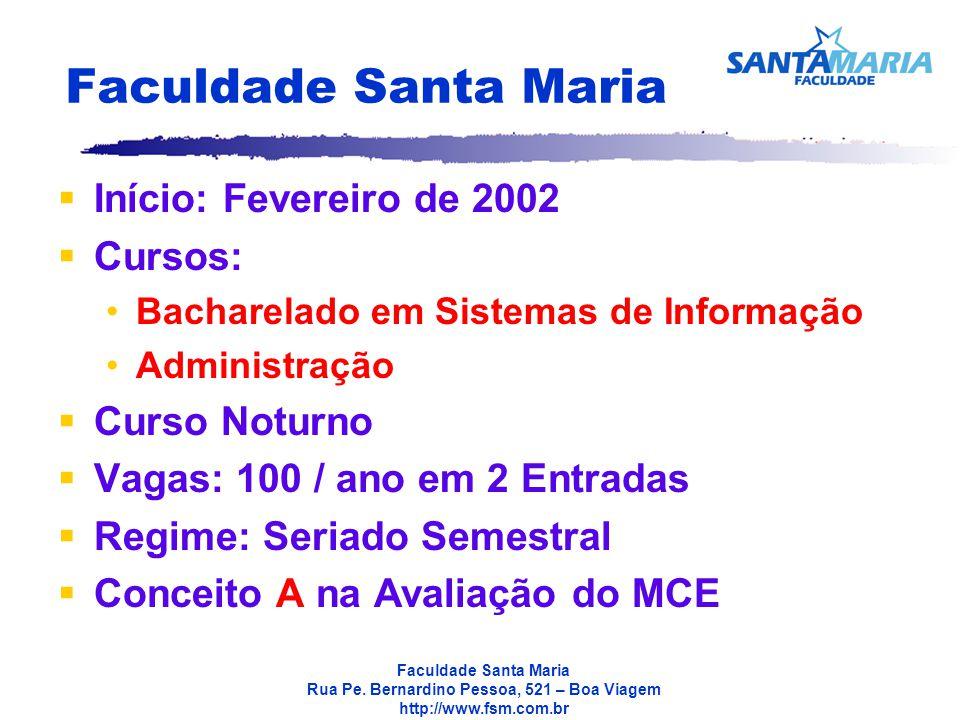 Faculdade Santa Maria Início: Fevereiro de 2002 Cursos: Curso Noturno