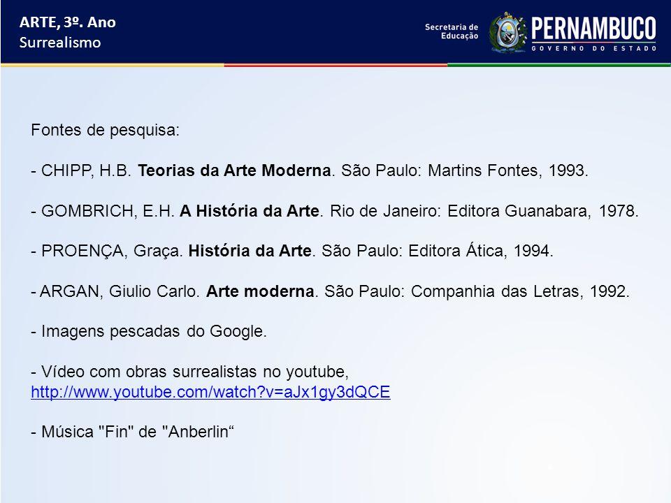 ARTE, 3º. Ano Surrealismo. Fontes de pesquisa: CHIPP, H.B. Teorias da Arte Moderna. São Paulo: Martins Fontes, 1993.