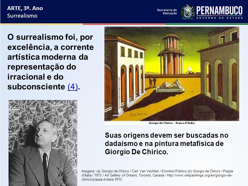 ARTE, 3º. Ano Surrealismo. O surrealismo foi, por excelência, a corrente artística moderna da representação do irracional e do subconsciente (4).