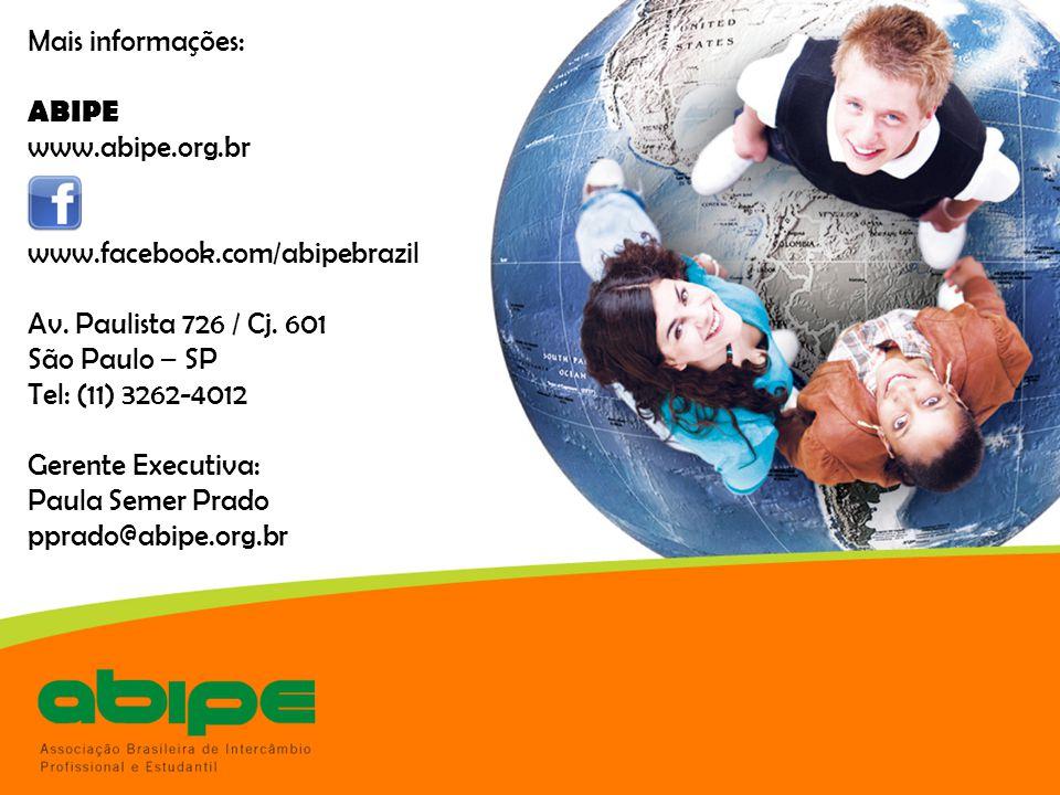 Mais informações: ABIPE. www.abipe.org.br. www.facebook.com/abipebrazil. Av. Paulista 726 / Cj. 601.