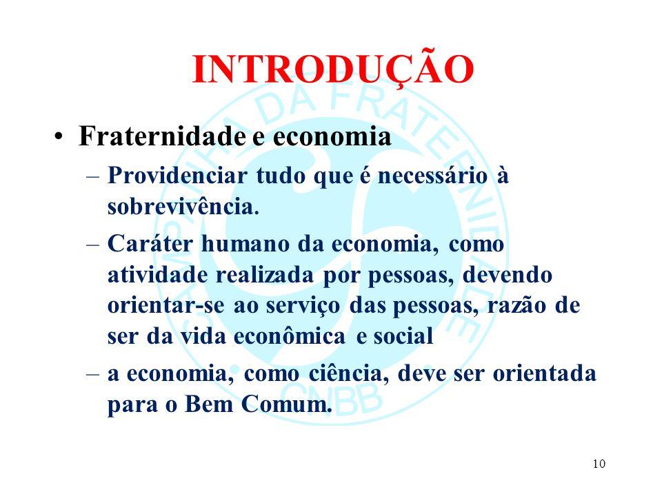 INTRODUÇÃO Fraternidade e economia