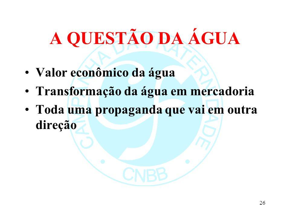 A QUESTÃO DA ÁGUA Valor econômico da água