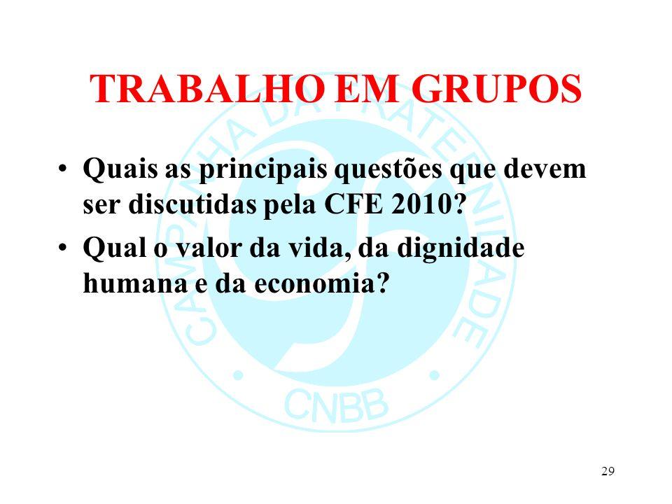TRABALHO EM GRUPOS Quais as principais questões que devem ser discutidas pela CFE 2010.