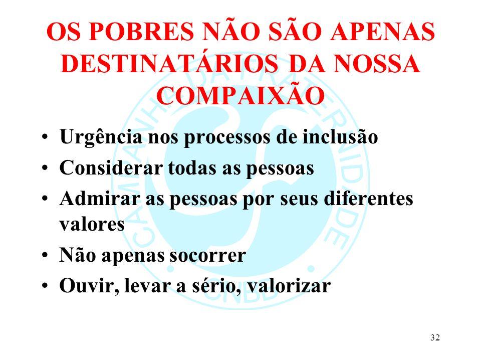 OS POBRES NÃO SÃO APENAS DESTINATÁRIOS DA NOSSA COMPAIXÃO