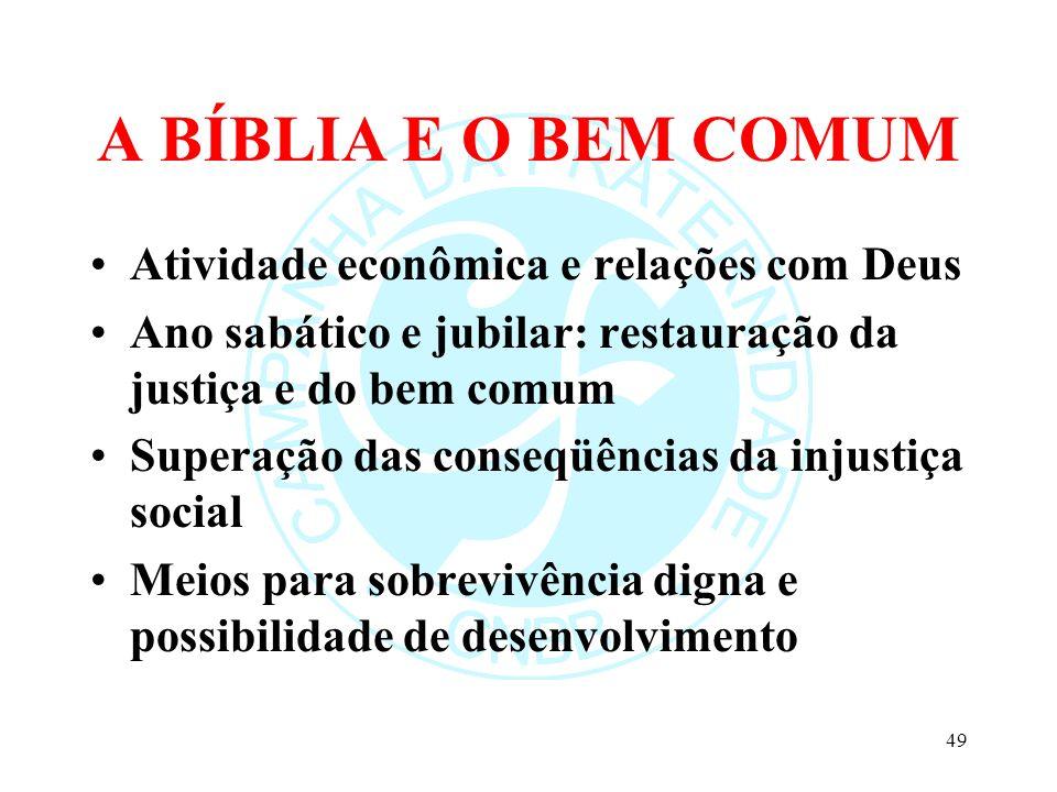 A BÍBLIA E O BEM COMUM Atividade econômica e relações com Deus