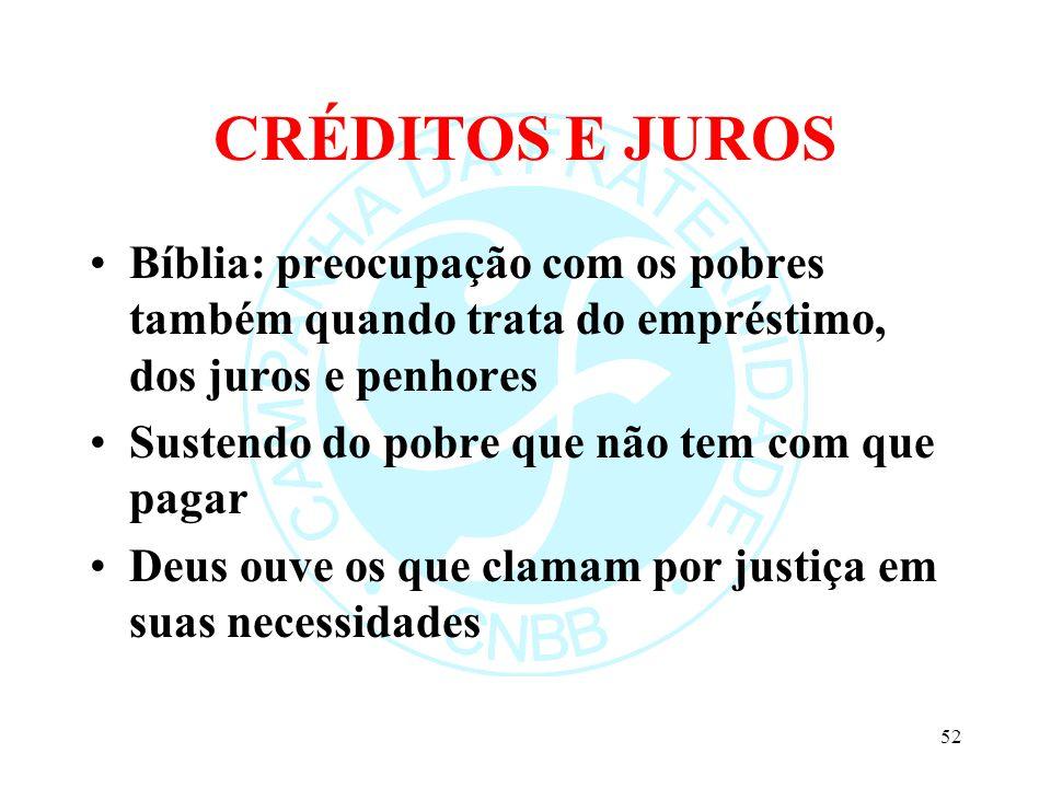 CRÉDITOS E JUROS Bíblia: preocupação com os pobres também quando trata do empréstimo, dos juros e penhores.