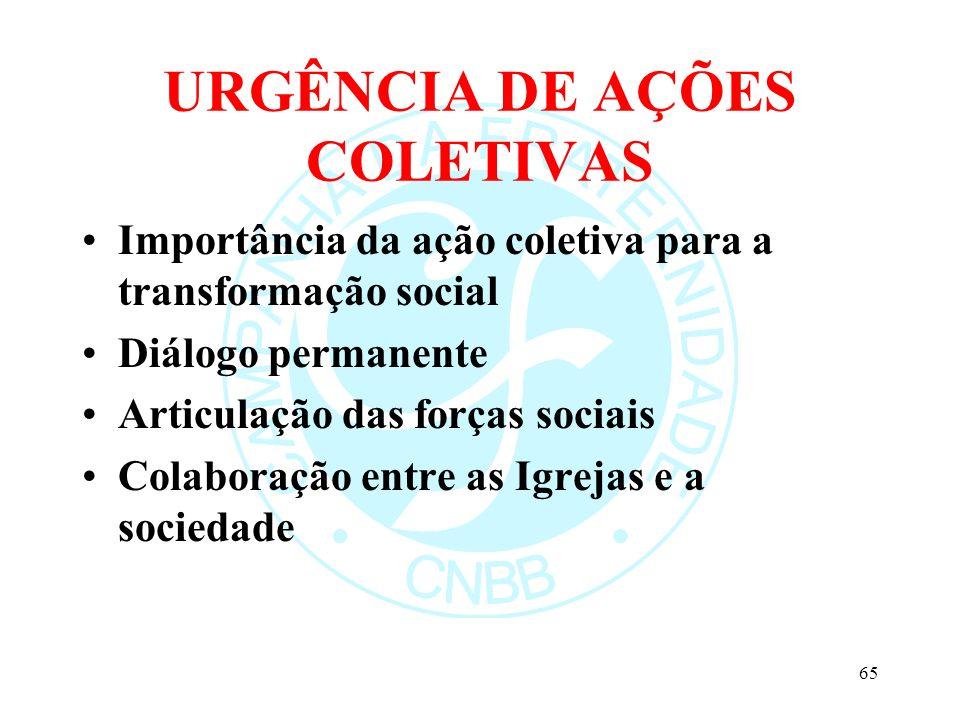 URGÊNCIA DE AÇÕES COLETIVAS