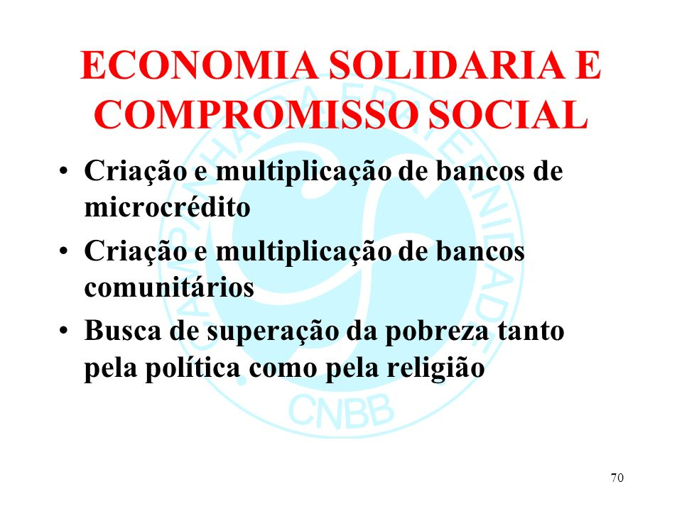 ECONOMIA SOLIDARIA E COMPROMISSO SOCIAL