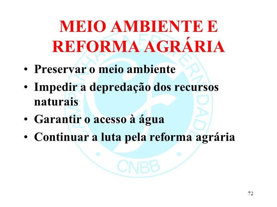 MEIO AMBIENTE E REFORMA AGRÁRIA