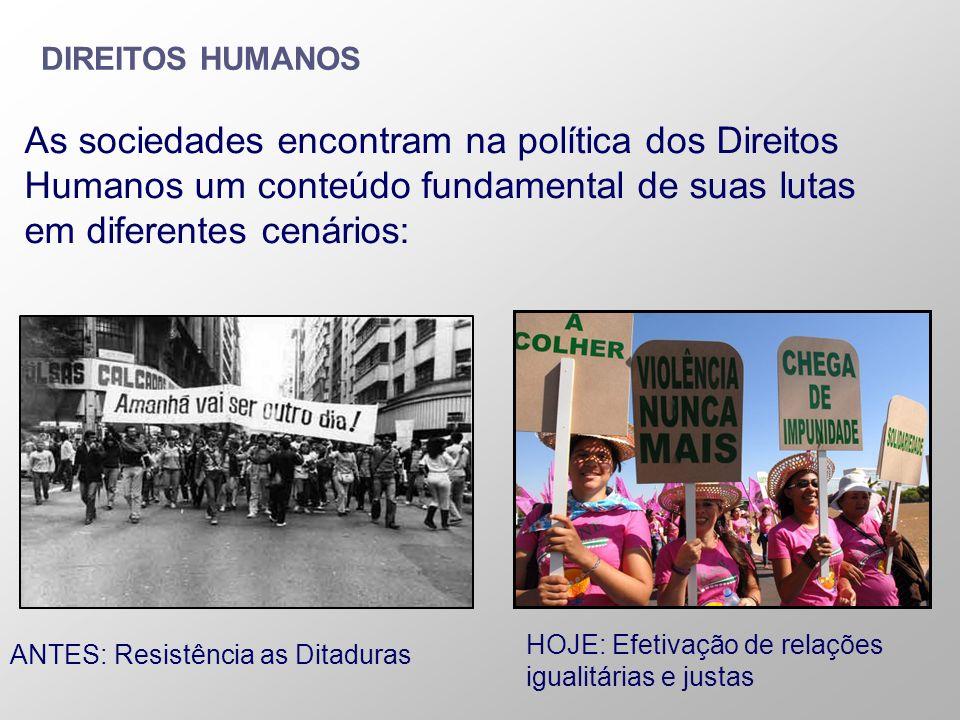 DIREITOS HUMANOS As sociedades encontram na política dos Direitos Humanos um conteúdo fundamental de suas lutas em diferentes cenários: