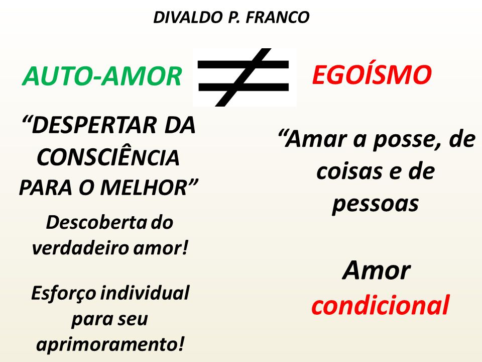 AUTO-AMOR EGOÍSMO Amor condicional