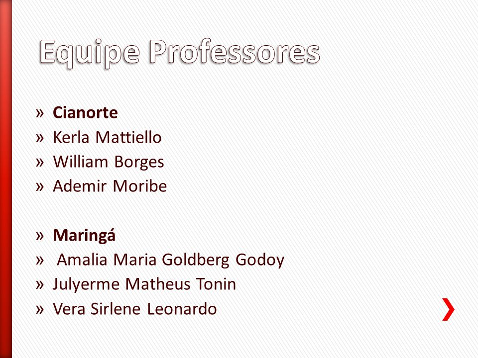 Equipe Professores Cianorte Kerla Mattiello William Borges
