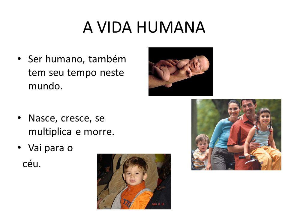 A VIDA HUMANA Ser humano, também tem seu tempo neste mundo.