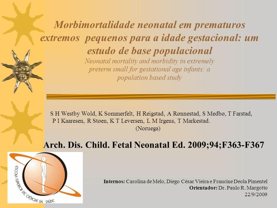 Morbimortalidade neonatal em prematuros extremos pequenos para a idade gestacional: um estudo de base populacional Neonatal mortality and morbidity in extremely preterm small for gestational age infants: a population based study