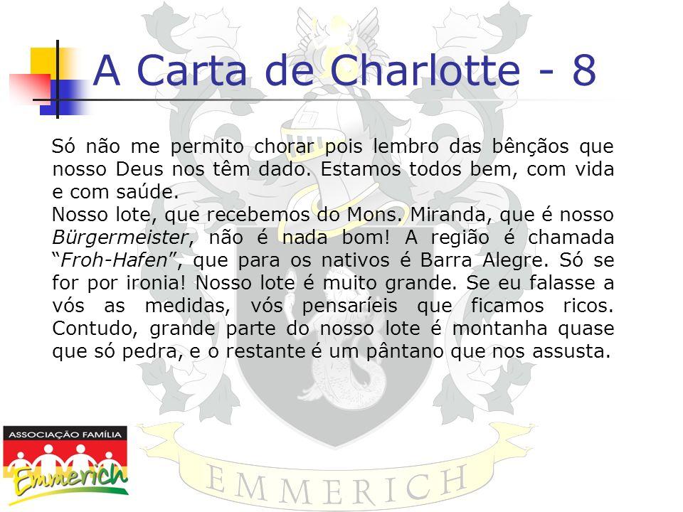 A Carta de Charlotte - 8Só não me permito chorar pois lembro das bênçãos que nosso Deus nos têm dado. Estamos todos bem, com vida e com saúde.