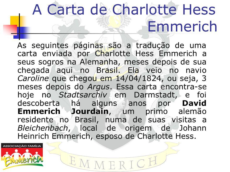A Carta de Charlotte Hess Emmerich