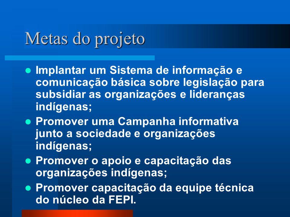 Metas do projeto Implantar um Sistema de informação e comunicação básica sobre legislação para subsidiar as organizações e lideranças indígenas;