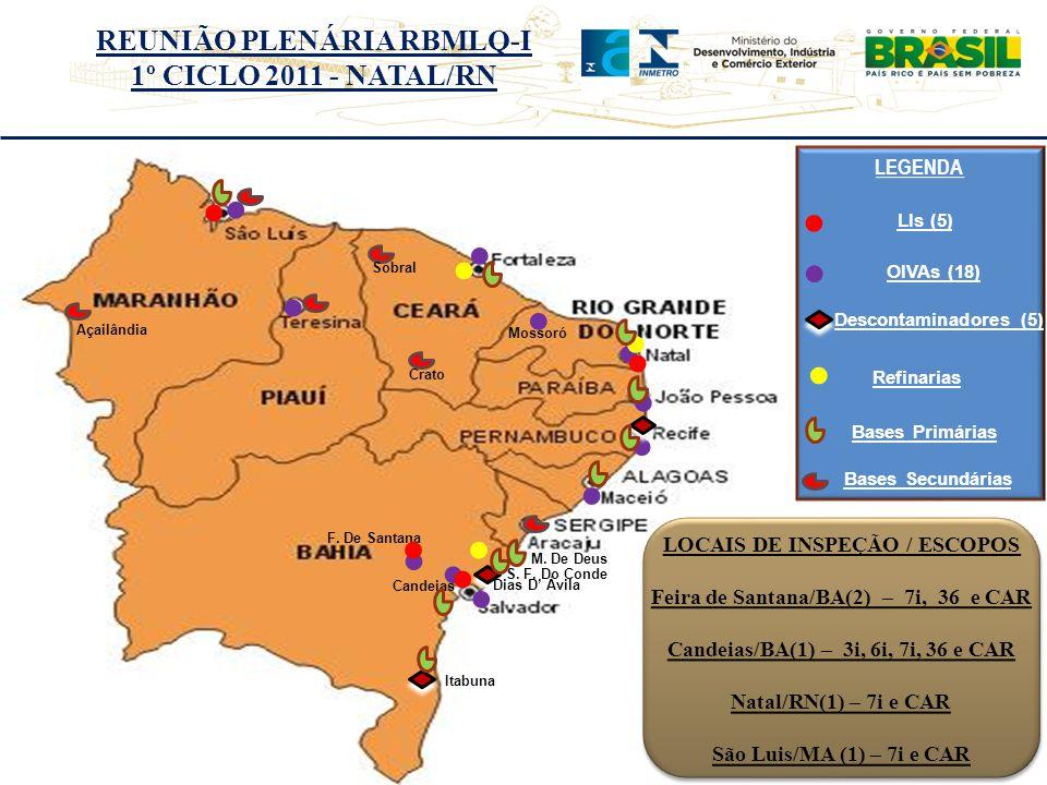 LOCAIS DE INSPEÇÃO / ESCOPOS Feira de Santana/BA(2) – 7i, 36 e CAR