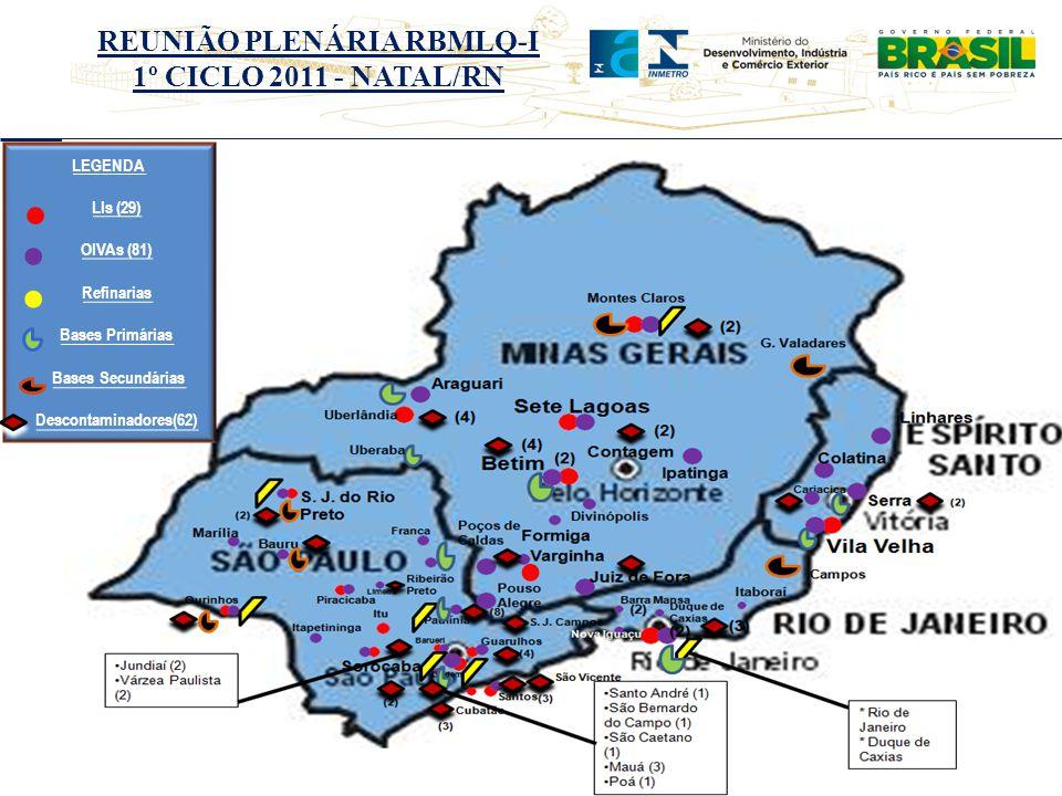 LEGENDA LIs (29) OIVAs (81) Refinarias Bases Primárias Bases Secundárias Descontaminadores(62)