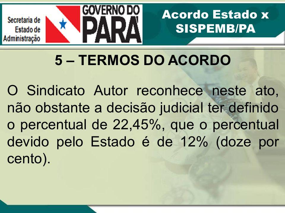 Acordo Estado x SISPEMB/PA