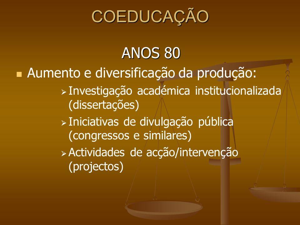 COEDUCAÇÃO ANOS 80 Aumento e diversificação da produção: