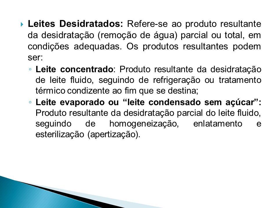 Leites Desidratados: Refere-se ao produto resultante da desidratação (remoção de água) parcial ou total, em condições adequadas. Os produtos resultantes podem ser: