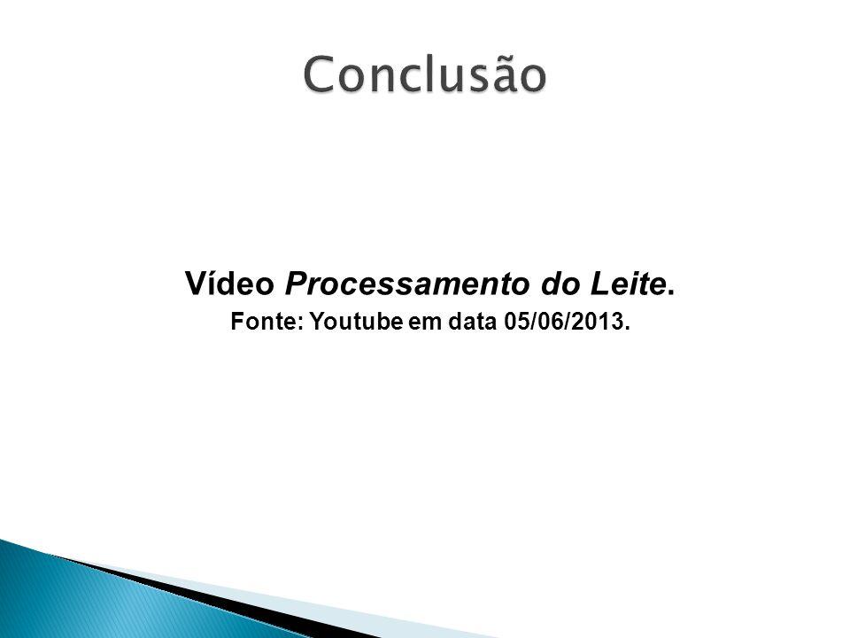 Vídeo Processamento do Leite. Fonte: Youtube em data 05/06/2013.